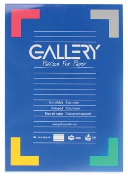 Gallery schrijfblok, ft A4, gelijnd, 100 vel