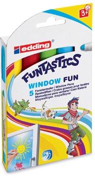 Edding Window Marker Funtastics, ophangetui met 5 stuks