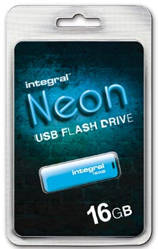 Integral Neon USB 2.0 stick, 16 GB, blauw