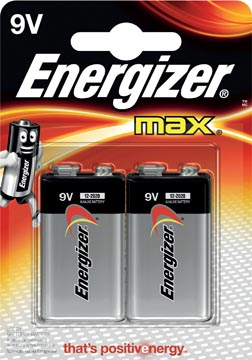 Energizer batterij Max 9V, blister met 2 stuks