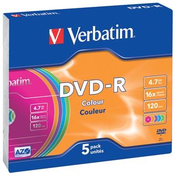 Verbatim DVD recordable DVD-R, doos van 5 stuks, individueel verpakt (Slim Case)