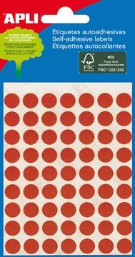 Apli ronde etiketten in etui diameter 8 mm, rood, 288 stuks, 96 per blad (2046)