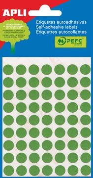 Apli ronde etiketten in etui diameter 8 mm, groen, 288 stuks, 96 per blad (2047)