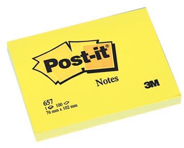 Post-it Notes, ft 76 x 102 mm, geel, blok van 100 vel