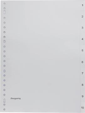 Pergamy tabbladen, ft A4, 23-gaatsperforatie, grijze PP, set 1-10
