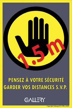 Gallery sticker, waarschuwing, houd 1,5 meter afstand, ft A5, Frans