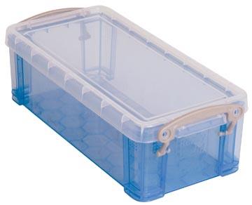 Really Useful Box 0,9 liter, transparant blauw